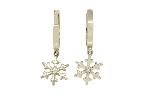 9ct Earrings In Yellow Gold Huggie Snowflake With Cubic Zirconias