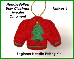 Ugly Christmas Sweater Ornament Needle Felting Kit - Makes 3
