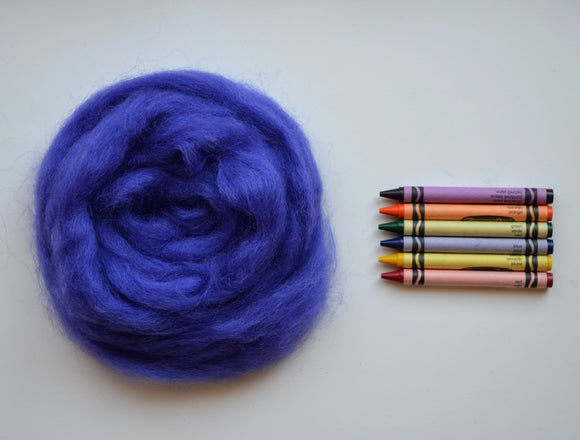 Practically Purple Romney Wool Roving - 1 ounce