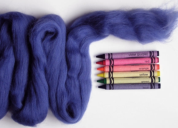 Blueberry Blue Corriedale Wool Roving - 1 ounce