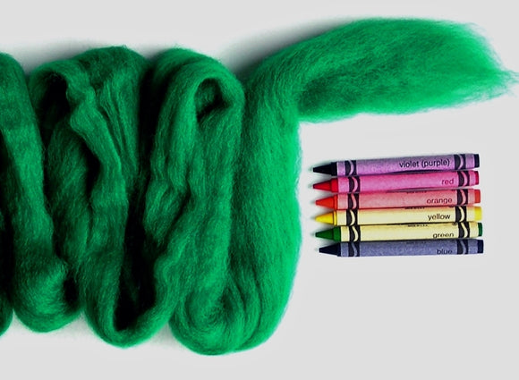 Classic Green Corriedale Wool Roving - 1 ounce