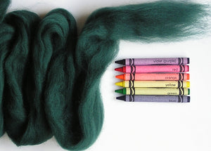 Pine Green Corriedale Wool Roving - 1 ounce