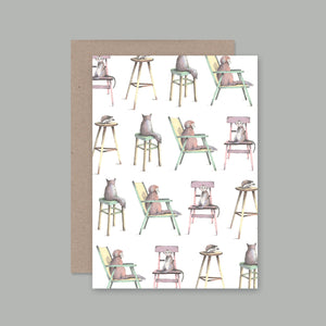 Animals On Chairs Card | AHD Paper Co.