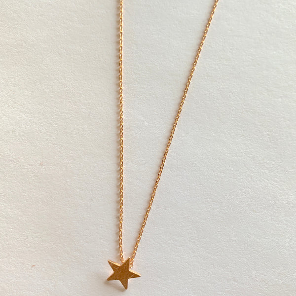 Brushed Star Rose Gold Necklace | Tiger Tree