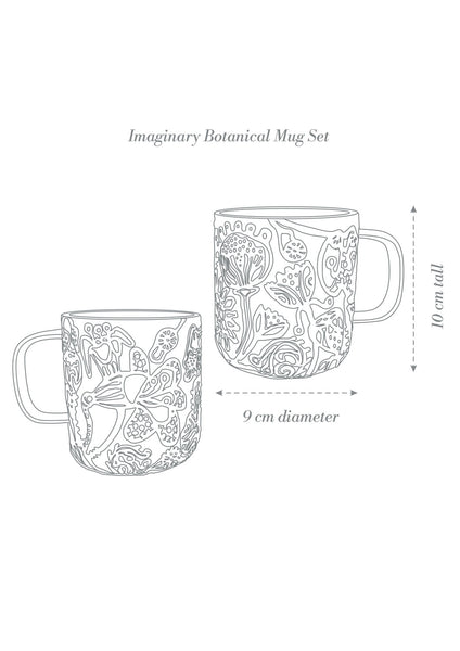 Imaginary Botanical Mug Set x 2 | Grey | Angus & Celeste