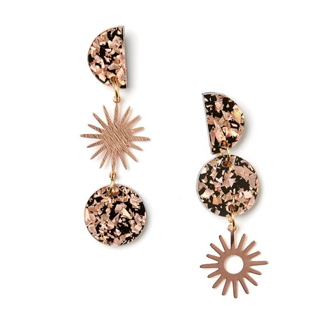 Sun Moon Earring | Martha Jean | Rose Gold