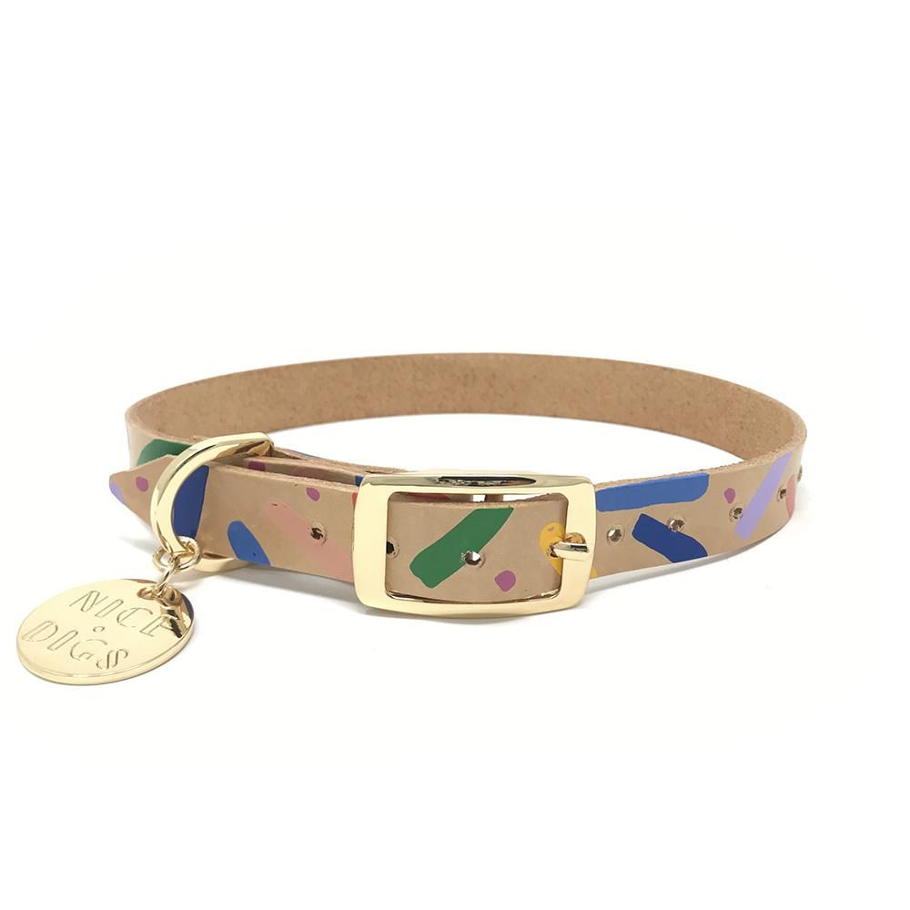 Nice Digs Leather Dog Collar | Memphis Confetti