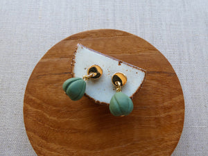 Moon & Shell Stud Earrings | Matcha Green | And O Designs