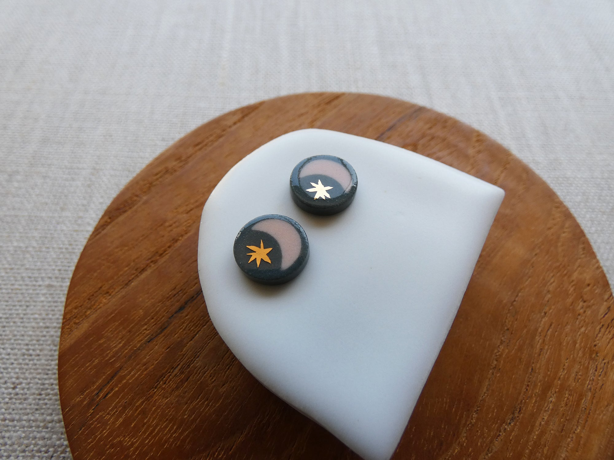 Starry Night Stud Earrings | Charcoal and Peach | And O Designs