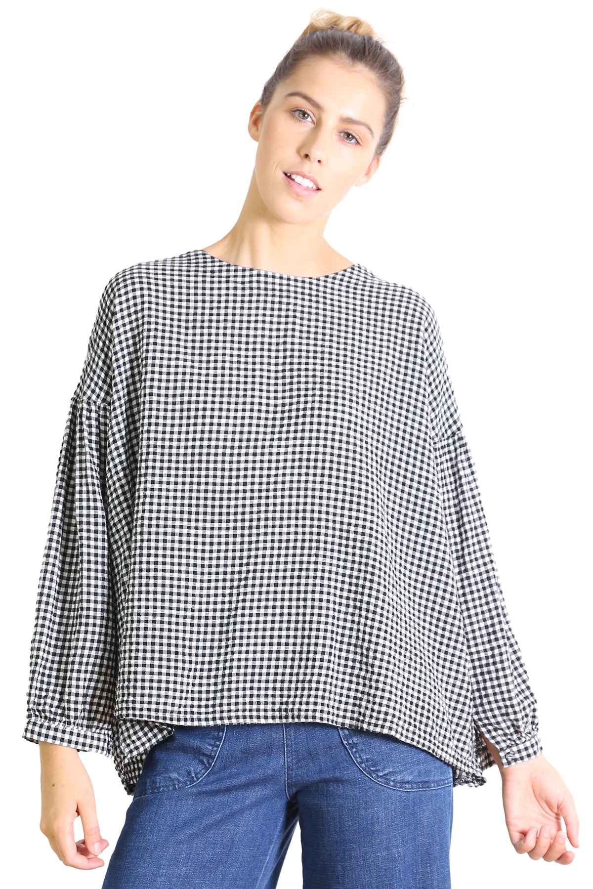 Suzanna Gingham Top |Black & White | Olga de Polga