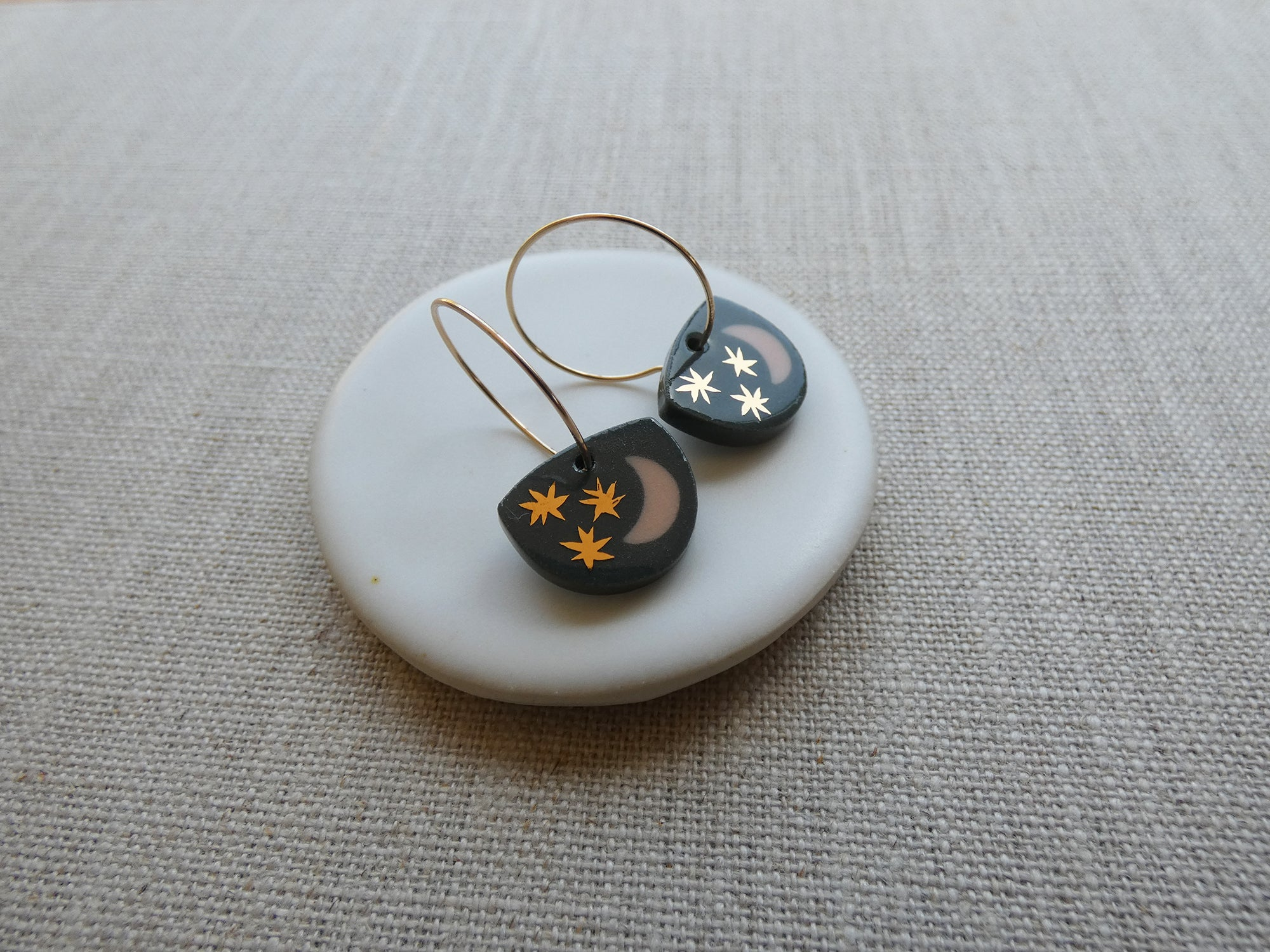 Starry Night Earrings | Charcoal and Peach | And O Designs