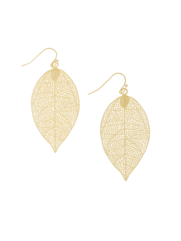 Gold Small Leaf Earring | Tiger Tree
