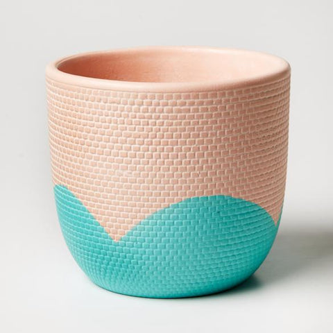 Petal Pot | Jones and Co | Nectarine/Aqua