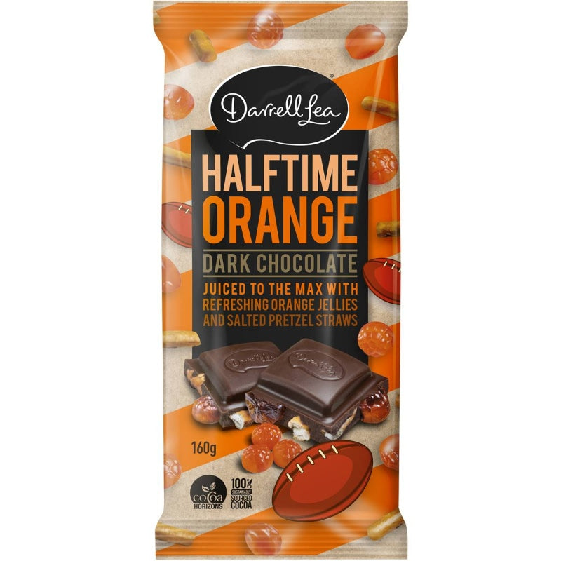 Darrell Lea Orange Jellies, Chocolate & Salted Pretzel Dark Chocolate Bar 160g