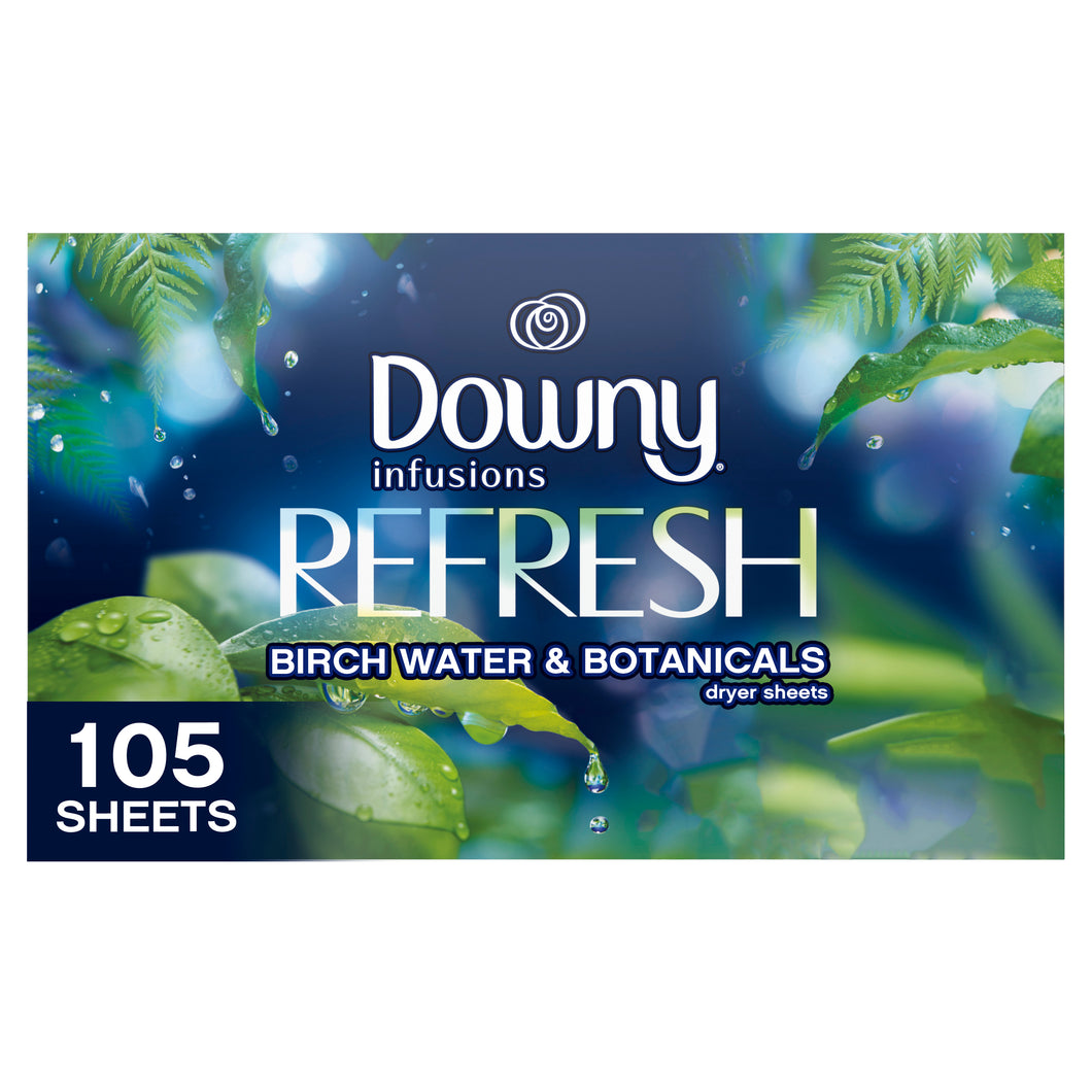 Downy Infusions Dryer Sheets Refresh Birch Water & Botanicals 105 Pack