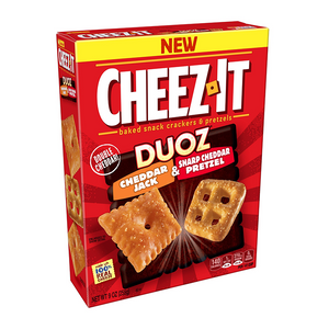 Cheez It Duoz Cheddar Jack & Sharp Cheddar Pretzel 255g - Best Before 23rd December 2020