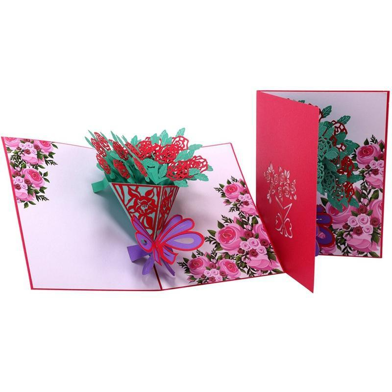 Rose Bouquet Pop Up Card - Valentines Day Card