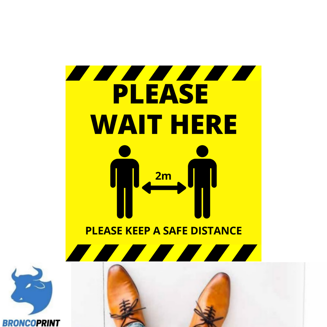 Covid-19 Please Wait Here Floor Stickers 1