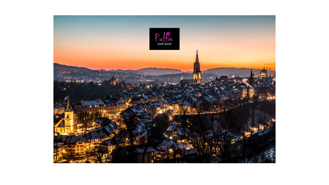Image taken in Switzerland image with Puffin Vape Shop logo floating on top