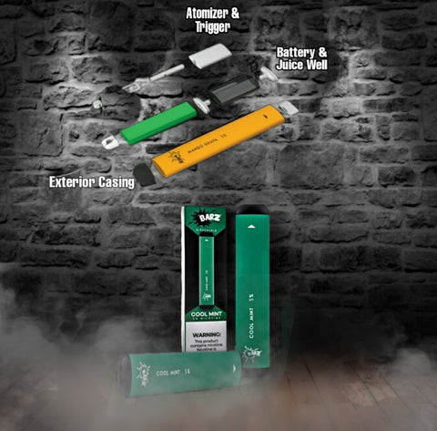 Displays exactly what is inside a buzz barz disposable vape - atomizer & trigger, battery and juice well, exterior casting