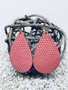 Large Dusty Rose Hexagon Textured Leather Teardrop