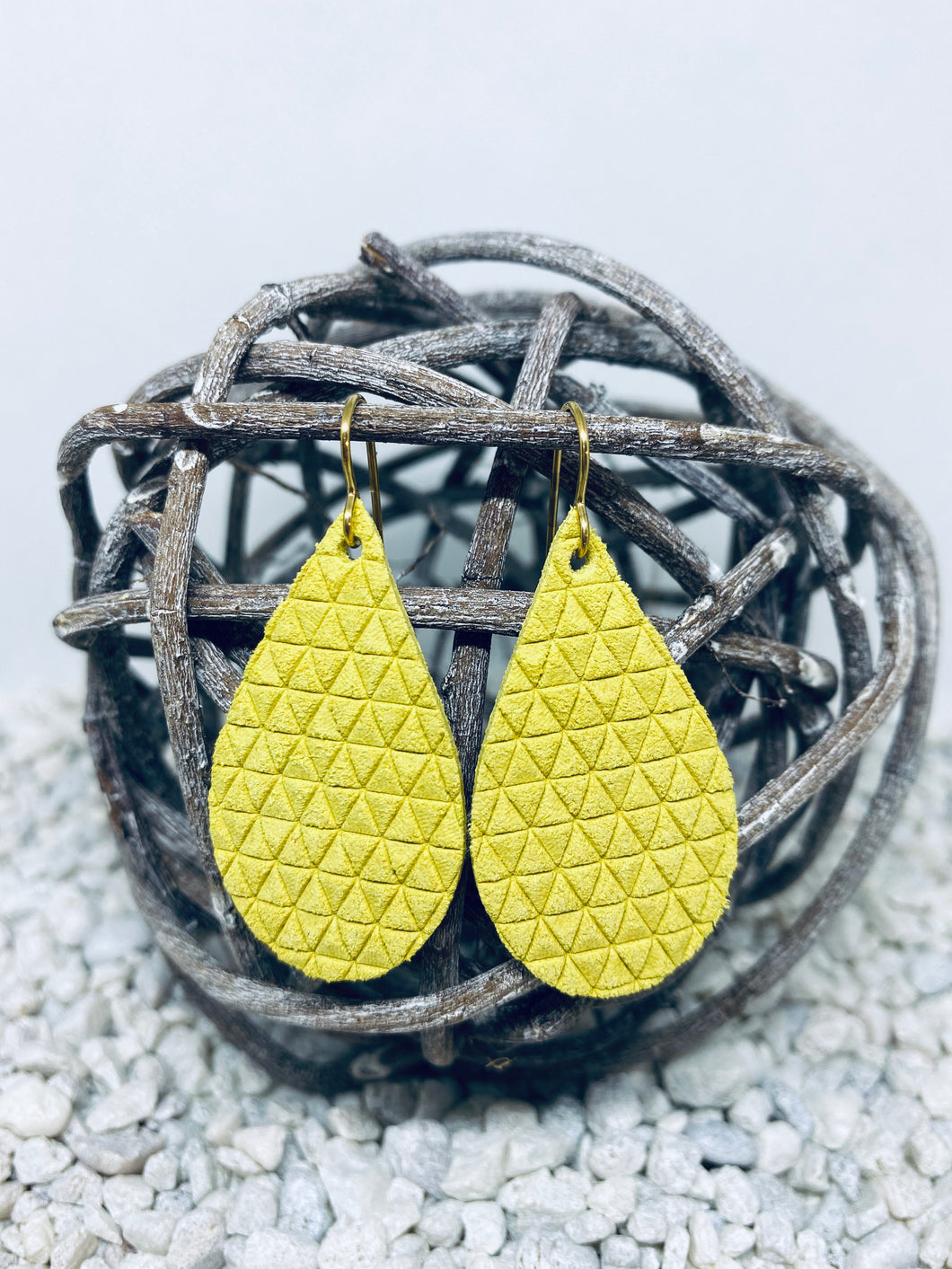 Small Yellow Triangle Textured Leather Teardrop