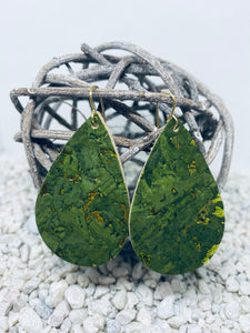 Large Cork Green with Gold Flecks Teardrop