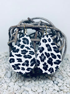 Large White Grey Leopard Leather Teardrop