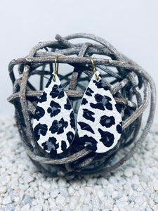 Small White Grey Leopard Leather Teardrop