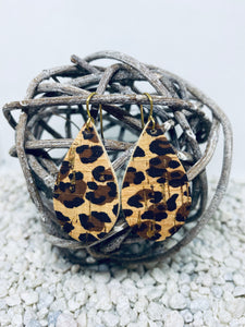 Small Cork Leopard Teardrop