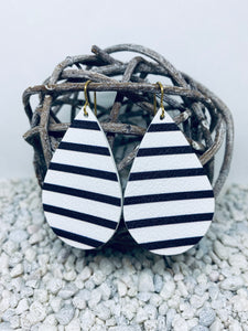 Large Black & White Stripe Leather Teardrop