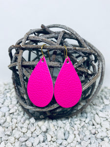 Small Neon Pink Leather Teardrop
