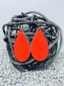 Small Neon Orange Leather Teardrop