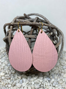Large Pink Rope Textured Leather Teardrop