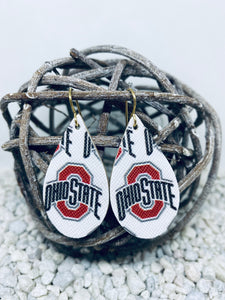 Small Ohio State Vinyl & Leather Teardrop