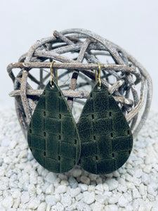 Large Army Green Wicker Textured Leather Teardrop