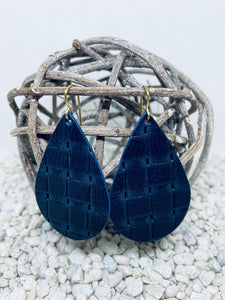 Large Navy Wicker Textured Leather Teardrop
