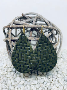 Large Army Green Basketweave Textured Leather Teardrop