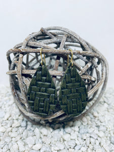 Small Army Green Basketweave Textured Leather Teardrop