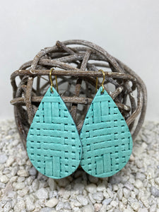 Large Aqua Basketweave Textured Leather Teardrop