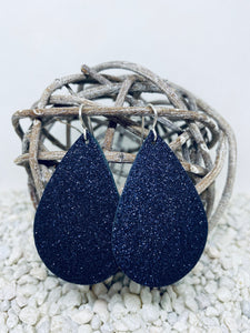 Large Navy Glitter Teardrop