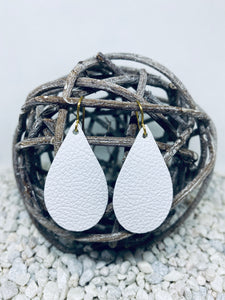 Small White Leather Teardrop