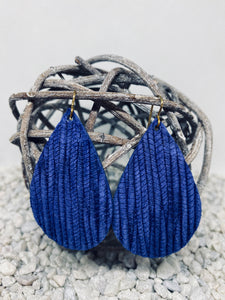 Large Royal Blue Rope Textured Leather Teardrop