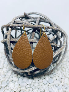Small Dark Tan Leather Teardrop