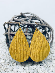 Large Mustard Rope Textured Leather Teardrop