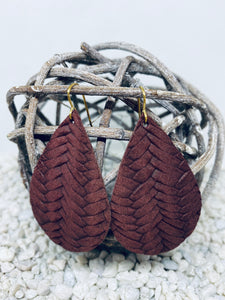 Large Burgundy Braid Textured Leather Teardrop