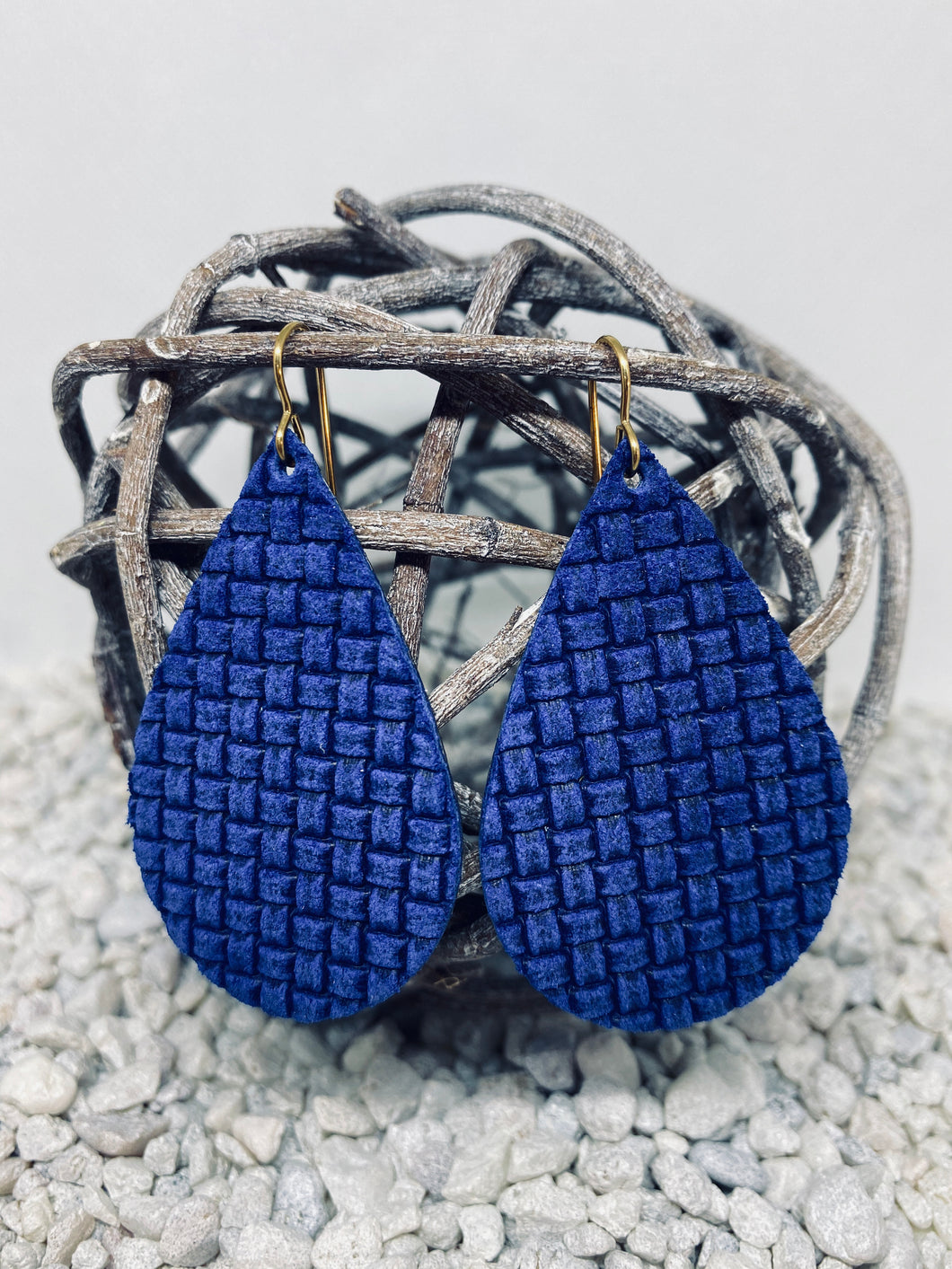 Large Royal Blue Woven Texture Leather Teardrop