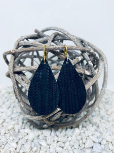 Small Black Rope Textured Leather Teardrop