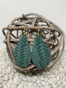 Small Dark Green Braid Textured Leather Teardrop
