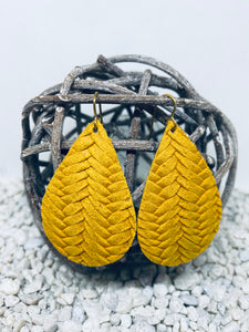 Large Mustard Braid Textured Leather Teardrop